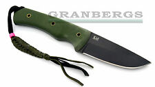Kizlyar Supreme Kid Fixed Blade Knife 440c Black Finish Green Micarta Russian