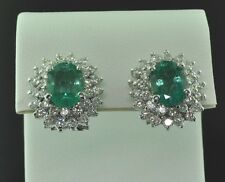 4.60 ct DIAMOND EMERALD EARRING WHITE GOLD FRENCH CLIP 14k made in USA