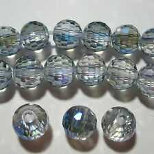 2-Tone Clear & Peacock 16mm Faceted Round Glass Crystal Beads 3mm Large Hole 8""