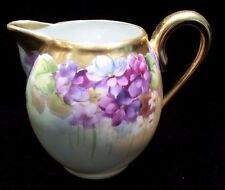 W A Pickard W G Limoges Violets Hand Painted Artist Signed Reury Gold Pitcher