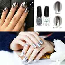 New 2PCS DIY Silver Metal Mirror Effect Nail Art Polish Varnish & Base Coat FT