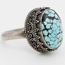 Antique Vintage C. 1920 Art Deco Sterling Silver Chinese Turquoise Ring Sz 9.25