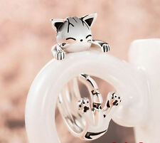 925 Silver Chi's Sweet Home Cute Cat Ring Adjustable Ring Cos Gift Limited