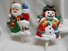 2 hard plastic outdoor stakes Christmas decorations Santa Claus waving snowman