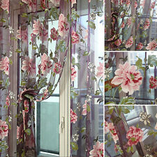 Romantic Floral Print Tulle Voile Window Curtain Drape Panel Sheer Scarf Valance