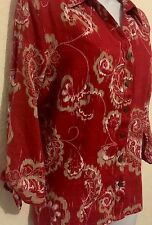JM Collection Petites 3/4 Sleeve Casual Red Paisley Linen Shirt Size 12P SALE