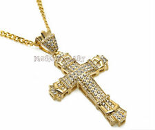 Mens Hip Hop Iced Out Bling Gold Jesus Cross Crucifix Men Pendant Necklace