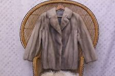 Vintage Real silver blue grey Mink fur 50s style 80s Saga coat winter jacket M S