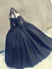 Retro schwarz A-Linie Organza Brautkleider Hochzeitskleid Ballkleid Abendkleid