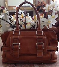Michael Kors Vintage Tan Brown Leather Buckle Satchel Shoulder Handbag Purse EUC