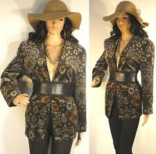 VTG 80'S-90'S BOHO HIPPIE OP ART TAPESTRY BROWN VELVET DRESS JACKET COAT