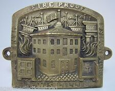 Antique Lewis Lillie FireProof Safe Brass Plaque Troy New York 1861 ornate *Rare