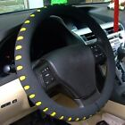 "Black Yellow 38CM 15"" Eva Foam Sport Type Soft Auto Car Steering Wheel Cover New"