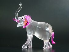 Cute Glass ELEPHANT, Tinted Pink Glass Circus Elephant, Nice Glassware Ornament