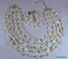 Vintage R. J. Graziano Mother of Pearl Nugget Necklace & Bracelet