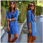 UK Women Mini Denim Jeans Button Pocket  Mini Shirt Wrap Dress Size 6 - 14