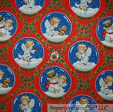 BonEful FABRIC FQ Cotton Quilt VTG Red White Angel Cherub Xmas Snowman Large Dot