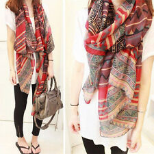 Fashion Red Color Womens Long Soft Cotton Voile Print Scarves Shawl Wrap Scarf