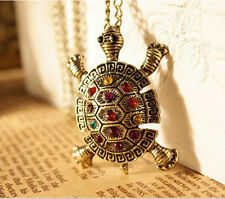 Women vintage lovely Bohemia Turtle multicolor crystal Pendant Necklace Jewelry
