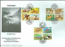UNITED NATIONS 1995  ENDANGERED SPECIES BLOCK SET ON TRIPLE CANCEL FIRST DAY COV