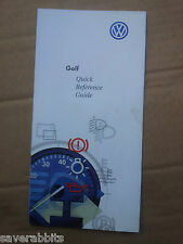 VW GOLF MK4 BORA QUICK REFERENCE GUIDE HANDBOOK INSTRUCTION MANUAL BOOKLET