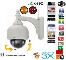 Caméra IP dome sans fil zoom 3X IRcut Etanche PTZ Vision Nocturne 720P H.264