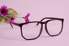 Fashion Black Retro Hipster Sunglasses Oversized Frame Nerd Geek Plain Glasses
