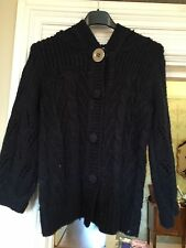RIVER ISLAND NAVY CABLE KNIT HOODIE CARDIGAN SIZE 10 Bnwot