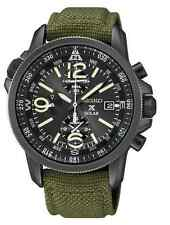 Seiko SSC295 Solar Chronograph Black Dial Green Canvas Strap Prospex Mens Watch