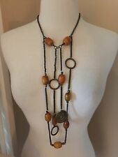"Vintage 60s 70s HIPPIE BOHO bakelite amber TRIBAL NECKLACE 18"" long ESTATE PIECE"