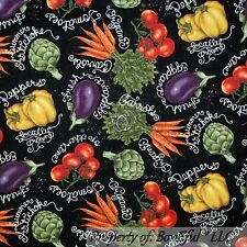 BonEful Fabric FQ Cotton Quilt VTG Black Green Red Vegetable Market Garden Fruit