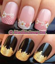 NAIL ART SET #535. PINK LACE FRENCH TIPS STICKERS/DECALS/TRANSFERS & GOLD LEAF