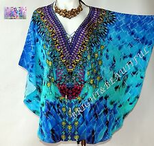 KAFTANS very EMBELLISHED evening top/mini 10/16 silk crepe blend beautiful blues