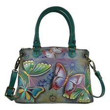 ANUSCHKA HAND PAINTED LEATHER SATCHEL BUTTERFLY PARADISE