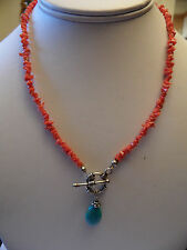 VINTAGE  Genuine turquoise red branch coral necklace vintage sterling silver