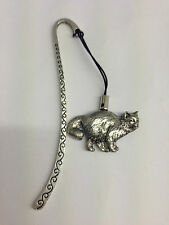 Birman Cat PP-C05 Pattern bookmark with cord 3D English pewter charm