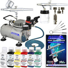 2 AIRBRUSH SYSTEM KIT w/ 6 Primary Testors Aztek Paint Color Set, Air Compressor