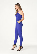 NWT BEBE RUCHED HALTER JUMPSUIT SIZE XS Knockou silky jersey jumpsuit channeling