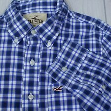 Hollister Button Up Shirt Mens Casual Plaid Blue Poplin Size Slim L Runs Small