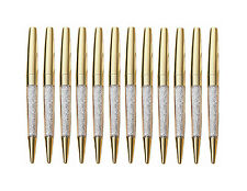 12 pcs/Lot New Luxury Bling Metal Shine Gold Diamond Crystal Pen Ballpoint pens