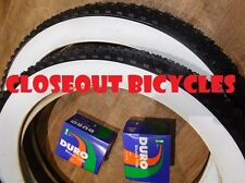 "2 Duro 26""x 4"" Fat bike Tire White Wall Tires /Tubes Cruiser Lowrider MTB Knobby"