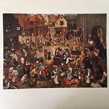 "Pieter Bruegel (1525-1569) Full Color Print ""The Battle Between Carnival & Lent"""