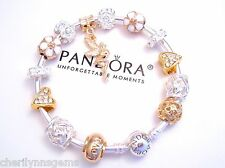 Authentic Pandora Silver Bangle Charm Bracelet with European charms Gold Love