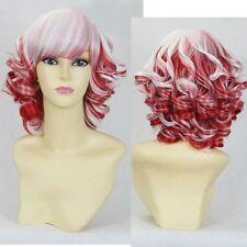 White Red Gradient Ombre Wig Short Bob Curly Wavy Roll Hair Cosplay Full WIg