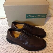 Clarks Mens Casual Line Day Walnut Leather Shoes Size Uk 9,5H(Wide Fit). Rrp £60