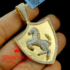 Genuine Diamond Mens 10K Yellow Gold Finish Ferrari Horse Shield Pendant Charm