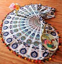 "Antique Pom Pom 72"" Mandala Tapestry Hippie Bohemian Roudie Decor Table Cloth @5"