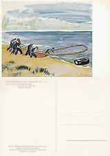 1980's FISHERMEN BY MAX PECHSTEIN UNUSED COLOUR POSTCARD FROM A PAINTING