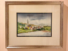 Jerry McClish Original Watercolor Harbor Scene Painting of Clifton Ireland