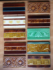 Mixed job lot de 10 reclaimed vintage céramique bordure demi-carreaux-arts & crafts